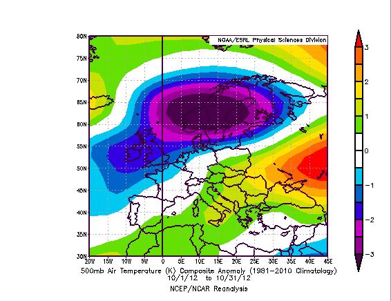 Meteo di Ottobre 2012 - Anomalia termica a 500 hPa rispetto al periodo 1981-2010. Notare il diplo termico tra Scandinavia (-) e Est Europa (+)