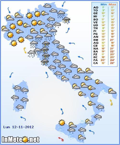 Miglioramento al Nord Ovest Lunedì 12 Novembre 2012, piogge ancora al Nord Est ed Emilia Romagna