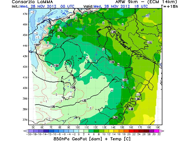 Modello WRF - ECM LAMMA Toscana. Temperature e altezza di geopotenziale a 850 hPa