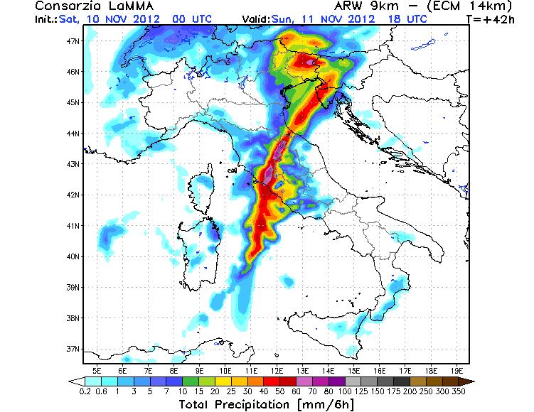 Precipitazioni previste per l'Italia - Modello ECM Lamma Toscana