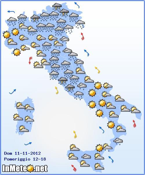 Previsioni Meteo Italia, Veneto e Friuli Venezia Giulia ancora sotto le piogge nel pomeriggio di Domenica 11 Novembre 2012