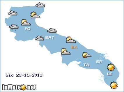 Previsioni Meteo Puglia 29 Novembre 2012 - In Meteo