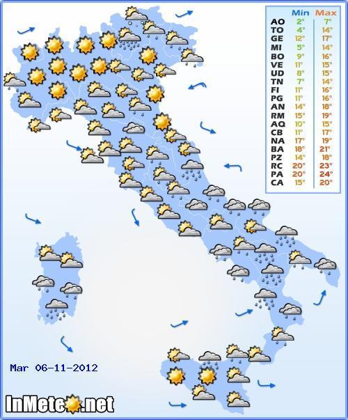 Previsioni del Tempo Martedì 6 Novembre 2012, condizioni meteo perturbate maggiormente al Sud