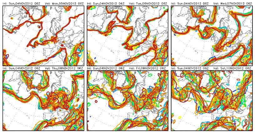 Temperature in calo, analisi ensemble modellistico dei valori termici a 850 hPa