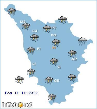 Toscana, ancora precipitazioni questa Domenica 11 Novembre 2012