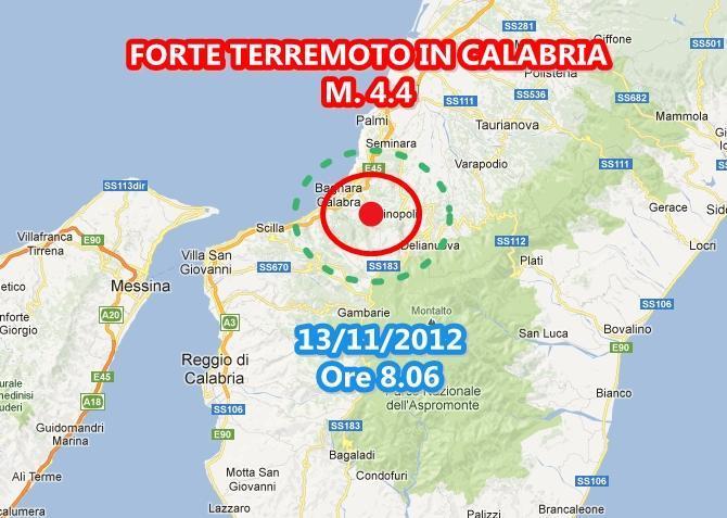 Terremoto oggi Calabria 13 Novembre 2012