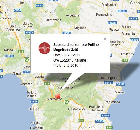 Terremoto Pollino Oggi 11 Dicembre 2012
