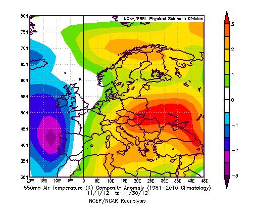 Anomalia termica a 850 hPa Novembre 2012 rispetto al periodo 1981 - 2010. Facilitate le incursioni atlantiche, l'anomalia fredda è giunta su tutto il comparto occidentale