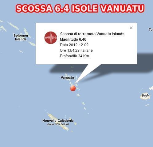 Terremoto Pacifico-Isole Vanuatu oggi 2 Dicembre 2012