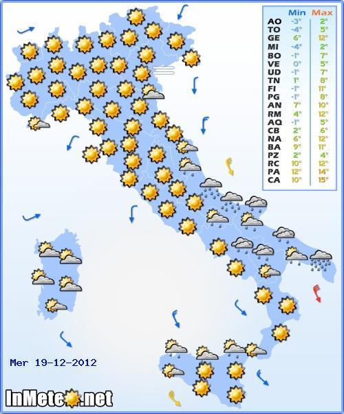 Il Meteo Italia Mercoledì 19 Dicembre 2012, previsioni del tempo nazionali