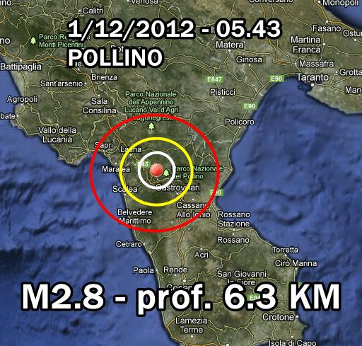 terremoto oggi 1 dicembre 2012