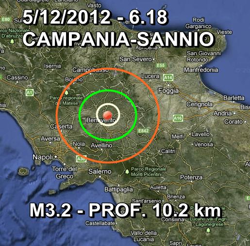 Terremoto Campania-Benevento Oggi 5 Dicembre 2012