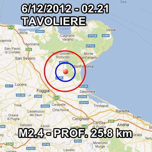 Terremoto Oggi 6 Dicembre 2012