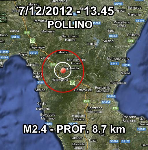 Terremoto Oggi INGV 7 Dicembre 2012