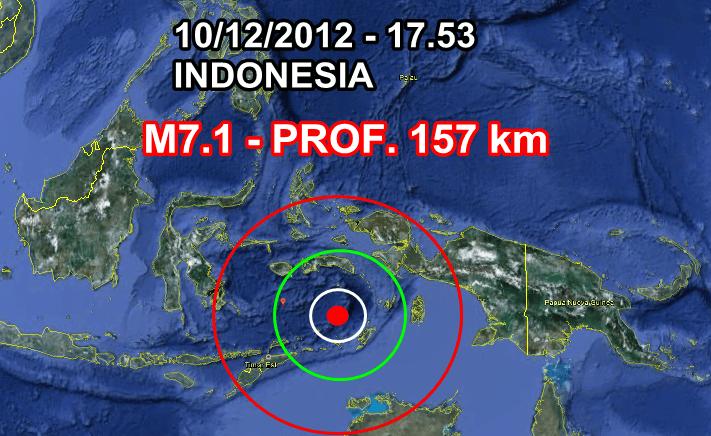 Forte Terremoto Indonesia 10 Dicembre 2012