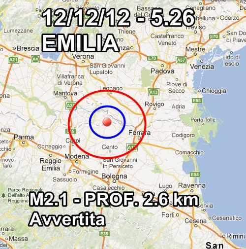Terremoto oggi Emilia 12 Dicembre 2012