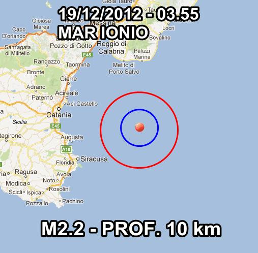 Terremoto Oggi 19 Dicembre 2012