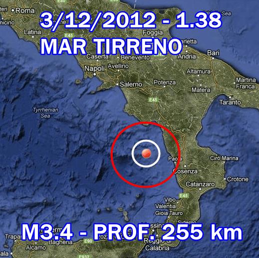 terremoto oggi 3 dicembre 2012