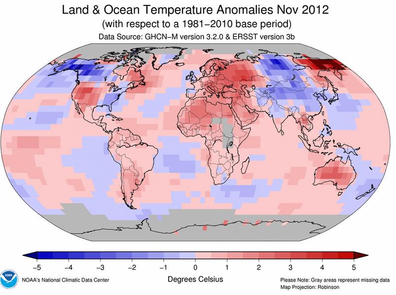 Clima Novembre 2012: il quinto più caldo