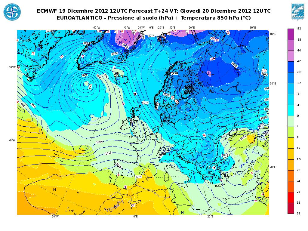 Previsioni Meteo Aeronautica Militare Giovedì 20 Dicembre 2012: peggiora al Nord