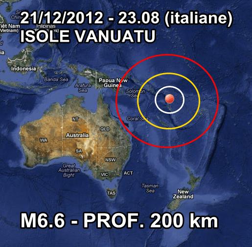 Terremoto Vanuatu Oceania 21 Dicembre 2012
