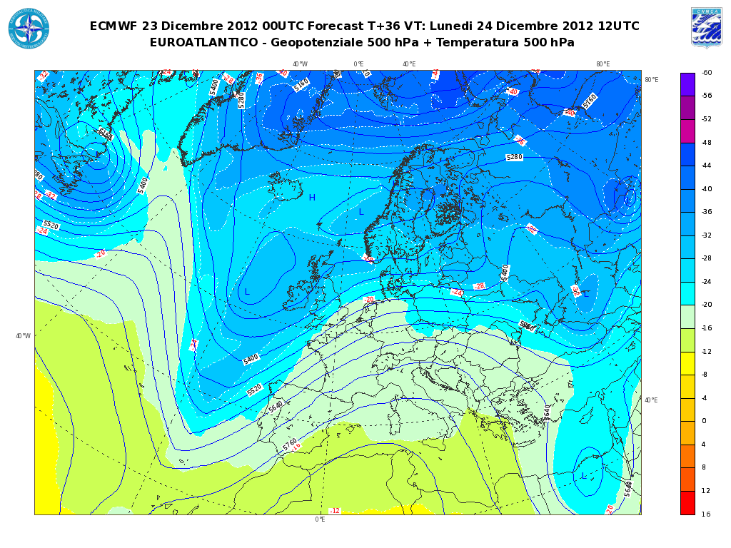 Previsioni Meteo Aeronautica Militare Lunedì 24 Dicembre 2012: Vigilia di Natale tra Sole e nebbie