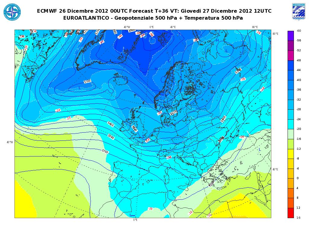 Previsioni Meteo Aeronautica Militare Giovedì 27 Dicembre 2012: qualche pioggia al Sud
