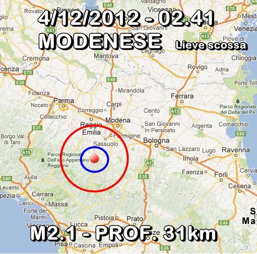 Terremoto Oggi 4 Dicembre 2012