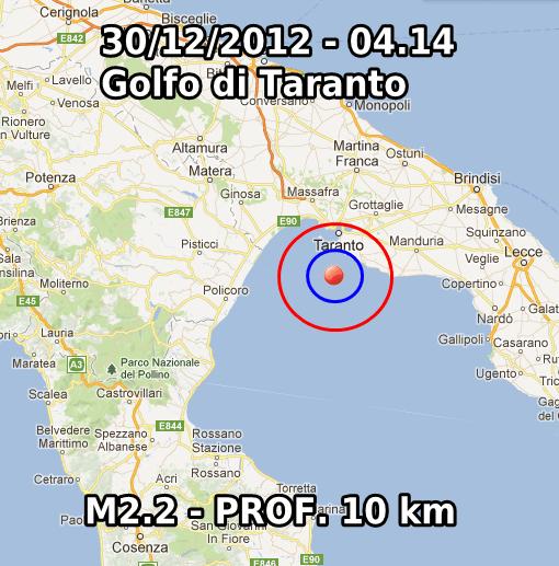 Terremoto Oggi 30 Dicembre 2012