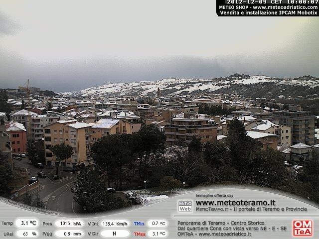 Maltempo Domenica 9 Dicembre 2012, neve su Marche ed Abruzzo, Teramo