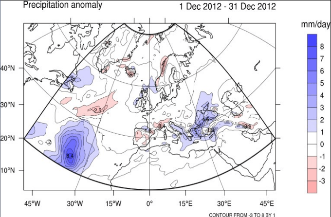 Meteo Dicembre 2012, tendenza stagionale e mensile. Anomalie di precipitazioni previste, favorito l'Adriatico