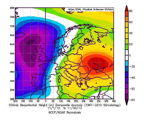 Meteo di Novembre 2012 - Anomalia di altezza di geopotenziale a 500 hPa rispetto al 1981-2010. Dipolo W-E con anomalia negativa atlantica