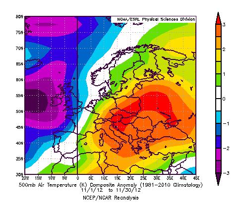 Meteo di Novembre 2012 - Anomalia termica a 500 hPa rispetto al periodo 1981-2010. Notare la forte anomalia calda sul Continente