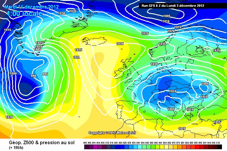 Previsione Meteo Dicembre 2012, metà mese tendenza GFS