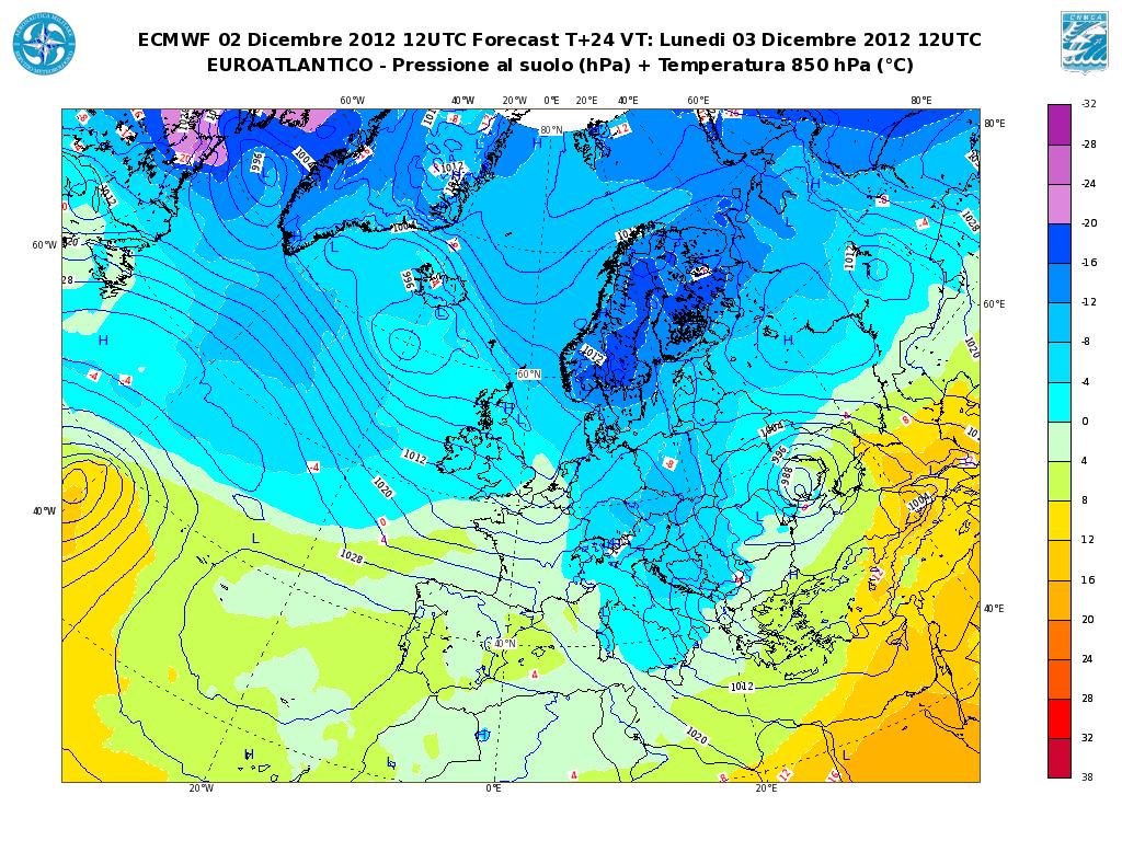 Previsioni Meteo Aeronautica Militare 3 Dicembre 2012, freddo in arrivo (Fonte meteoam.it)