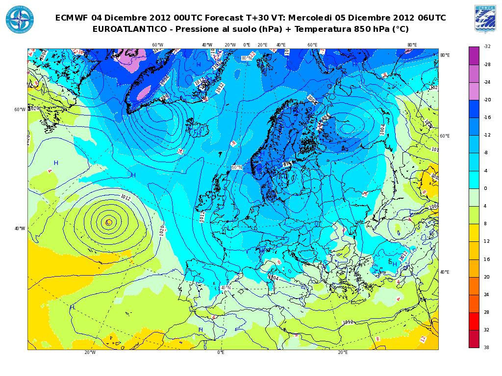 Previsioni Meteo Aeronautica Militare 5 Dicembre 2012, freddo e maltempo (Fonte meteoam.it)