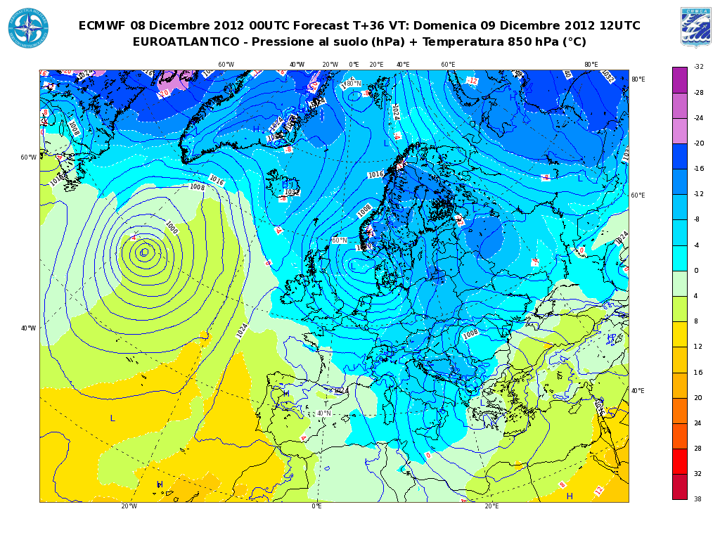 Previsioni Meteo Aeronautica Militare Domenica 9 Dicembre 2012, neve a bassa quota sull' Adriatico