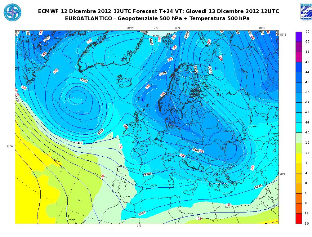 Previsioni Meteo Aeronautica Militare Giovedì 13 Dicembre 2012, neve al Nord