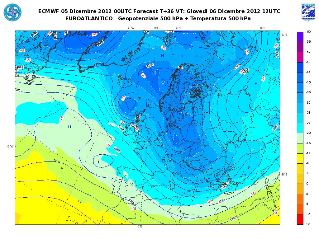 Previsioni Meteo Aeronautica Militare Giovedì 6 Dicembre 2012, freddo e instabilità su Medio Adriatico e Sud