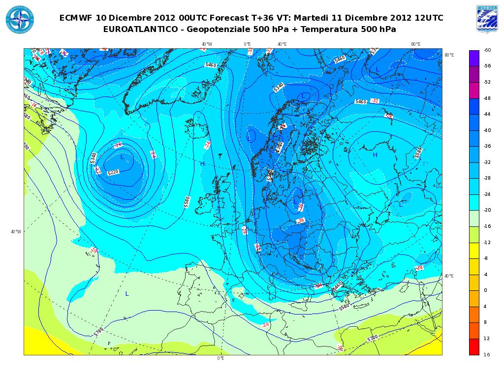 Previsioni Meteo Aeronautica Militare Martedì 11 Dicembre 2012, altra neve sull' Adriatico