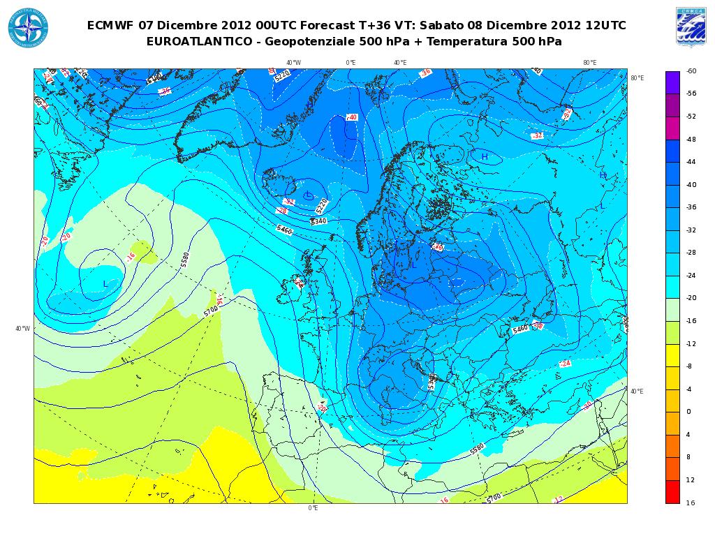 Previsioni Meteo Aeronautica Militare Sabato 8 Dicembre 2012, neve al Nord-Est e sull'Adriatico