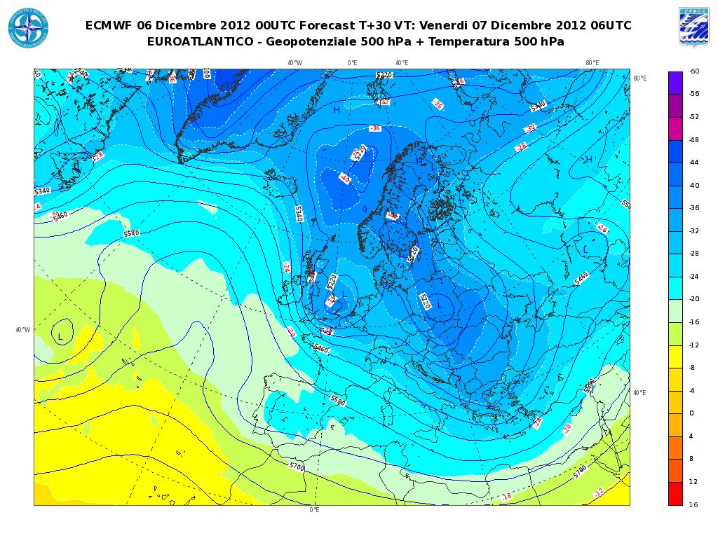 Previsioni Meteo Aeronautica Militare Venerdì 7 Dicembre 2012 allerta neve fino in pianura al Nord