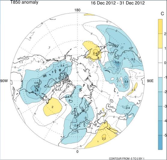 Tendenze meteo Dicembre 2012, anomalie di temperatura a 850 hPa