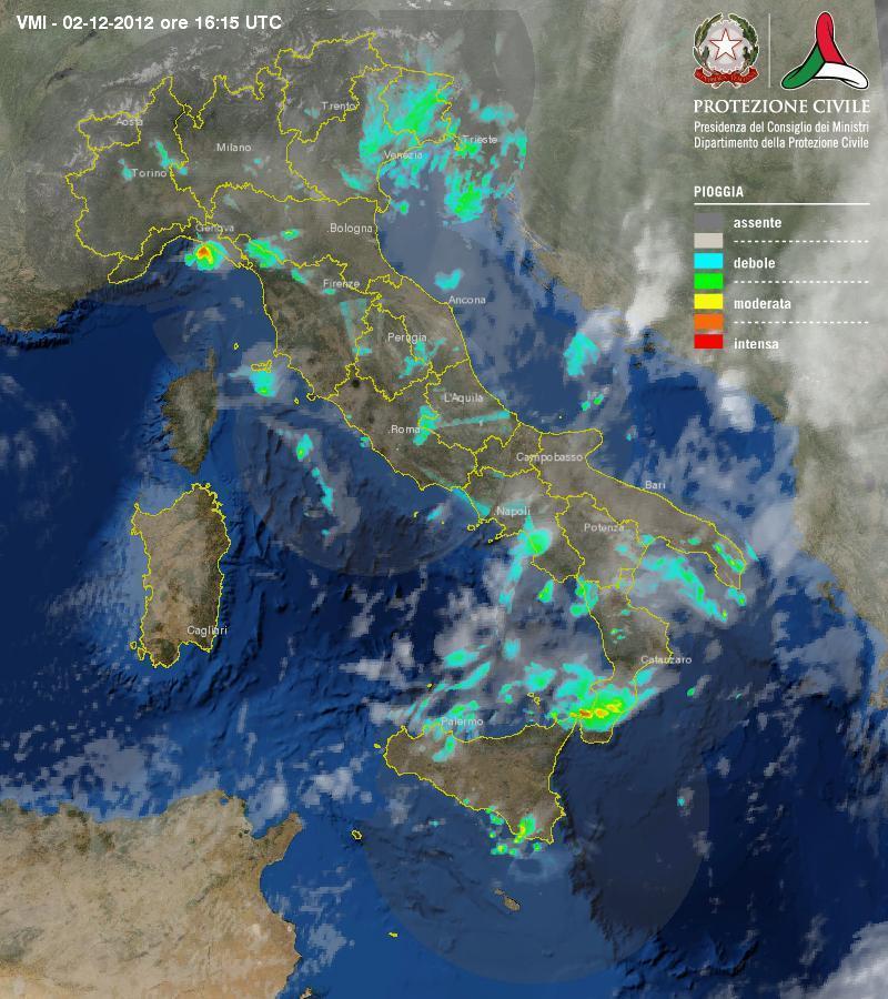 Radar protezione civile: sistema perturbato a largo della Liguria