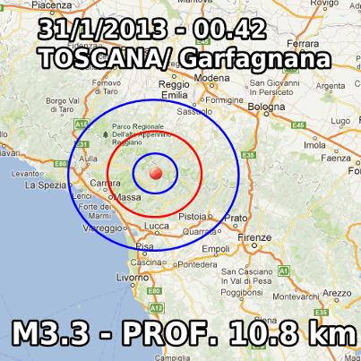 Terremoto Oggi 31 Gennaio 2013