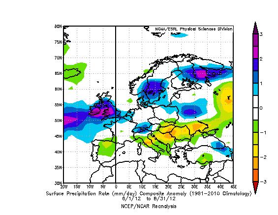 Anomalie precipitazioni in Europa durante la Estate 2012 rispetto al trentennio 1981-2010.
