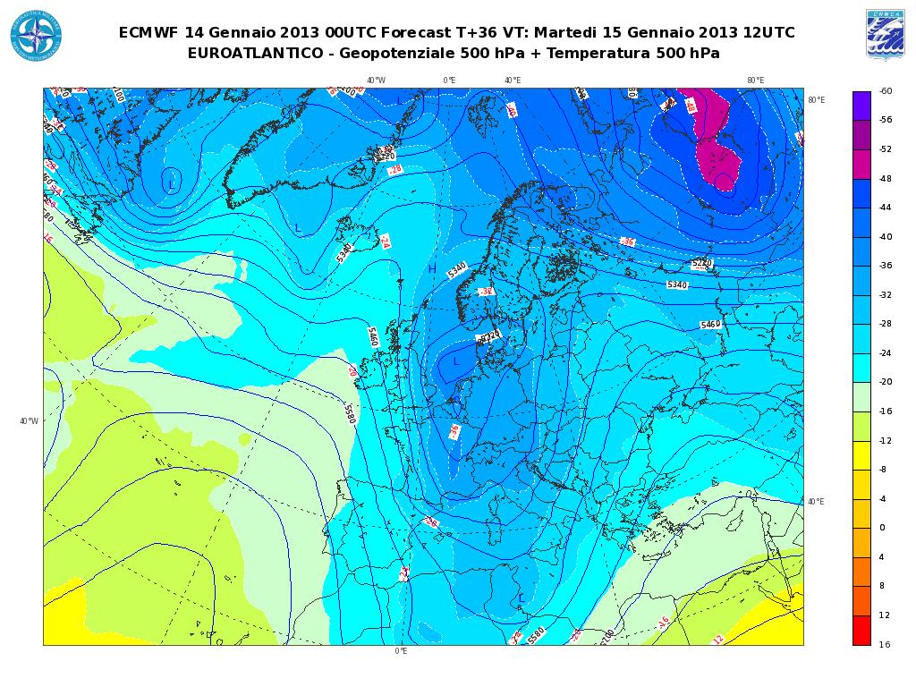 Previsioni Meteo Aeronautica Militare Martedì 15 Gennaio 2013: instabilità con pioggia e neve