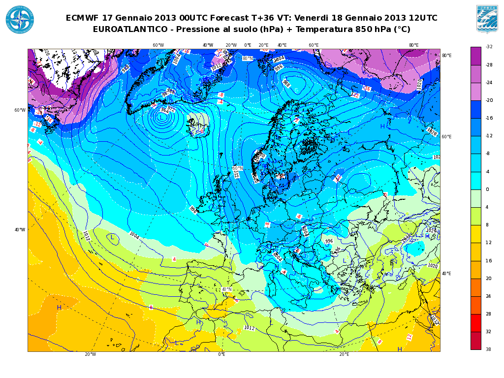Previsioni Meteo Aeronautica Militare Venerdì 18 Gennaio 2013: neve a bassa quota al Centro