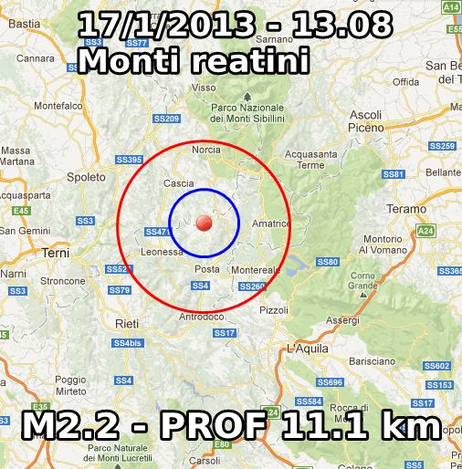 Terremoto Oggi 17 Gennaio 2013