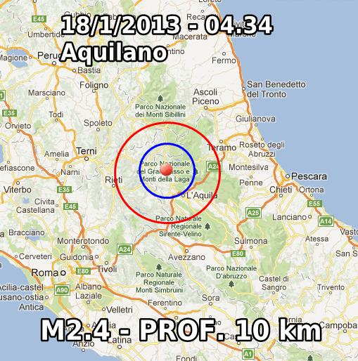 Terremoto Oggi 18 Gennaio 2013